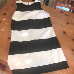 AQUA black and cream mini dress